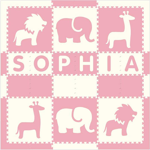 Easy Personalize- SoftTiles Safari Animals in Light Pink and White (One Name up to 6 Letters) 6.5' x 6.5' Play Mat