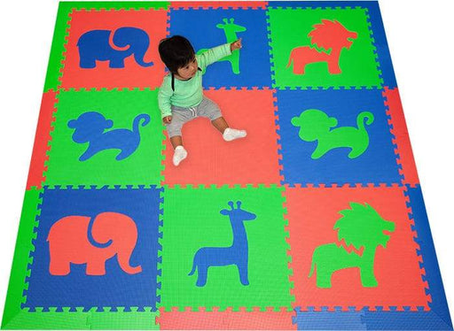 SoftTiles Safari Animals Kids Foam Play Mat (6.5 x 6.5 feet) Red, Blue, Lime Green