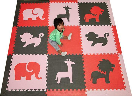 SoftTiles Safari Animals Kids Foam Play Mat (6.5 x 6.5 feet) Red, Gray, Light Pink