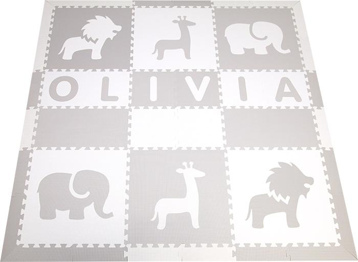 SoftTiles Nautical Theme Play Mat with Borders Light Gray and White