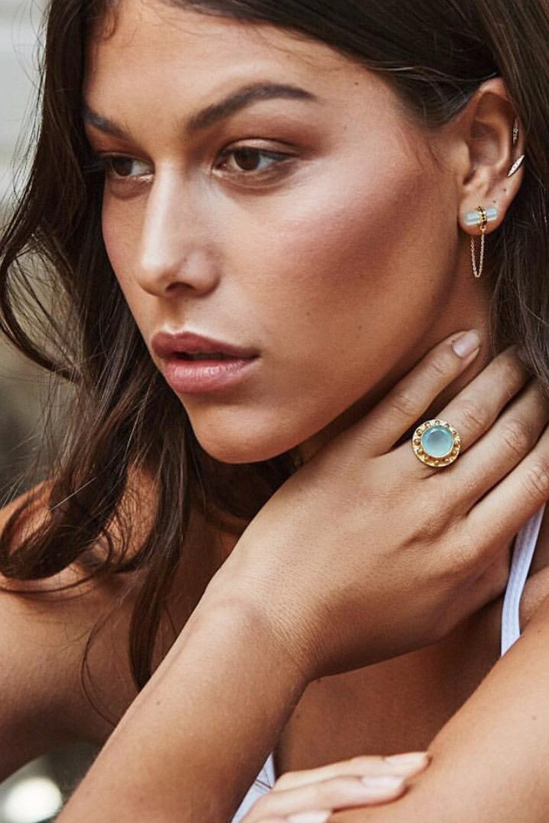 EMELLI | TRIBAL AQUA CHALCEDONY RING