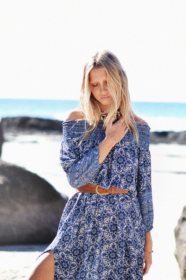 Adriana Off-Shoulder Kaftan | Indigo