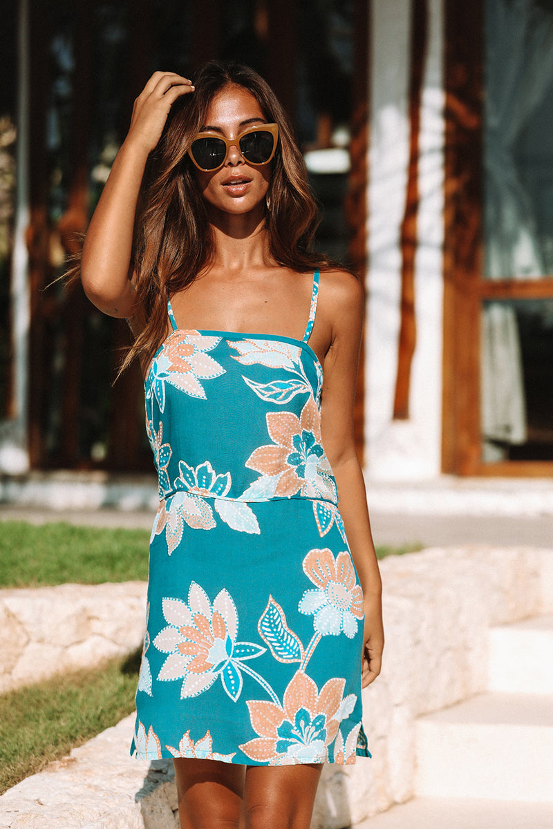 Avalon Mini Dress | Teal Bloom