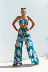 Florence Tie Crop | Teal Bloom