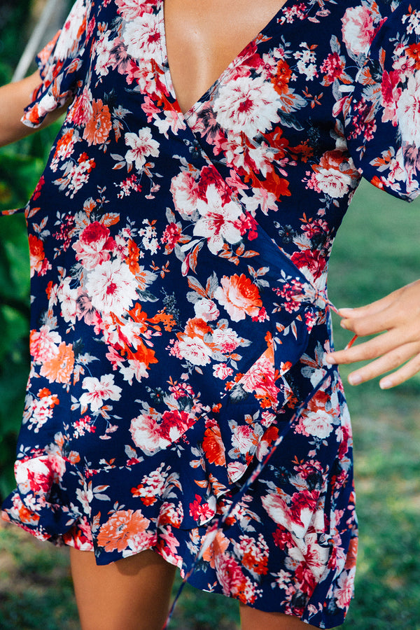 Hartland Wrap Mini Dress | Midnight Flora