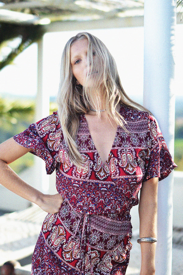 Hartland Wrap Mini Dress | Sangria
