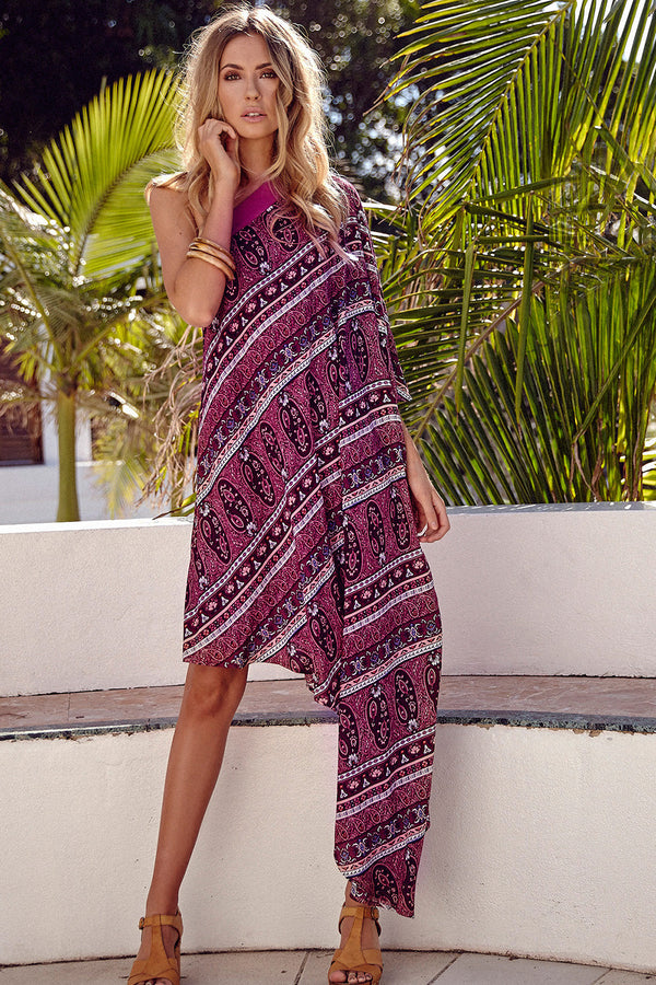 Isola One-Shoulder Kaftan | Berry