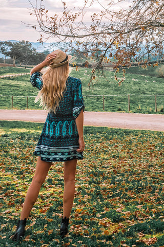 Hartland Wrap Dress | Teal Bloom