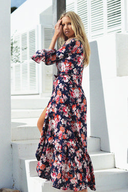 Savannah Wrap Maxi | Midnight Flora