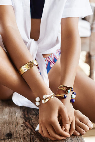 Two Tribes Gold Cuff | White Quartz