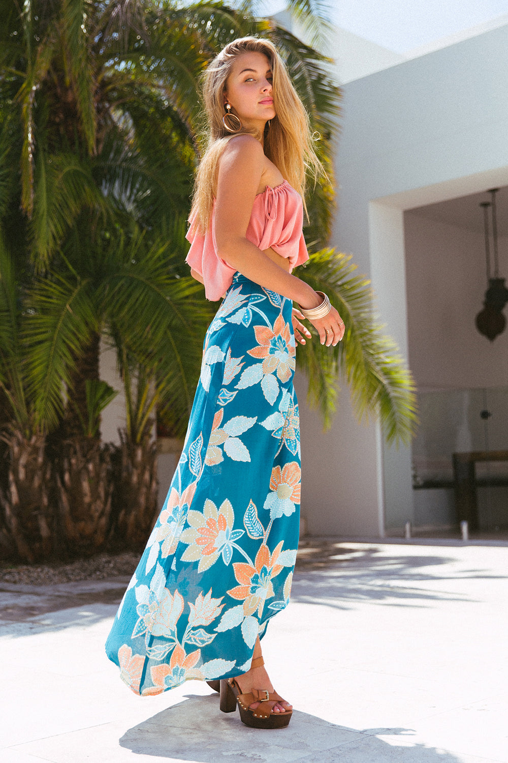 Willow Split Skirt | Teal Bloom