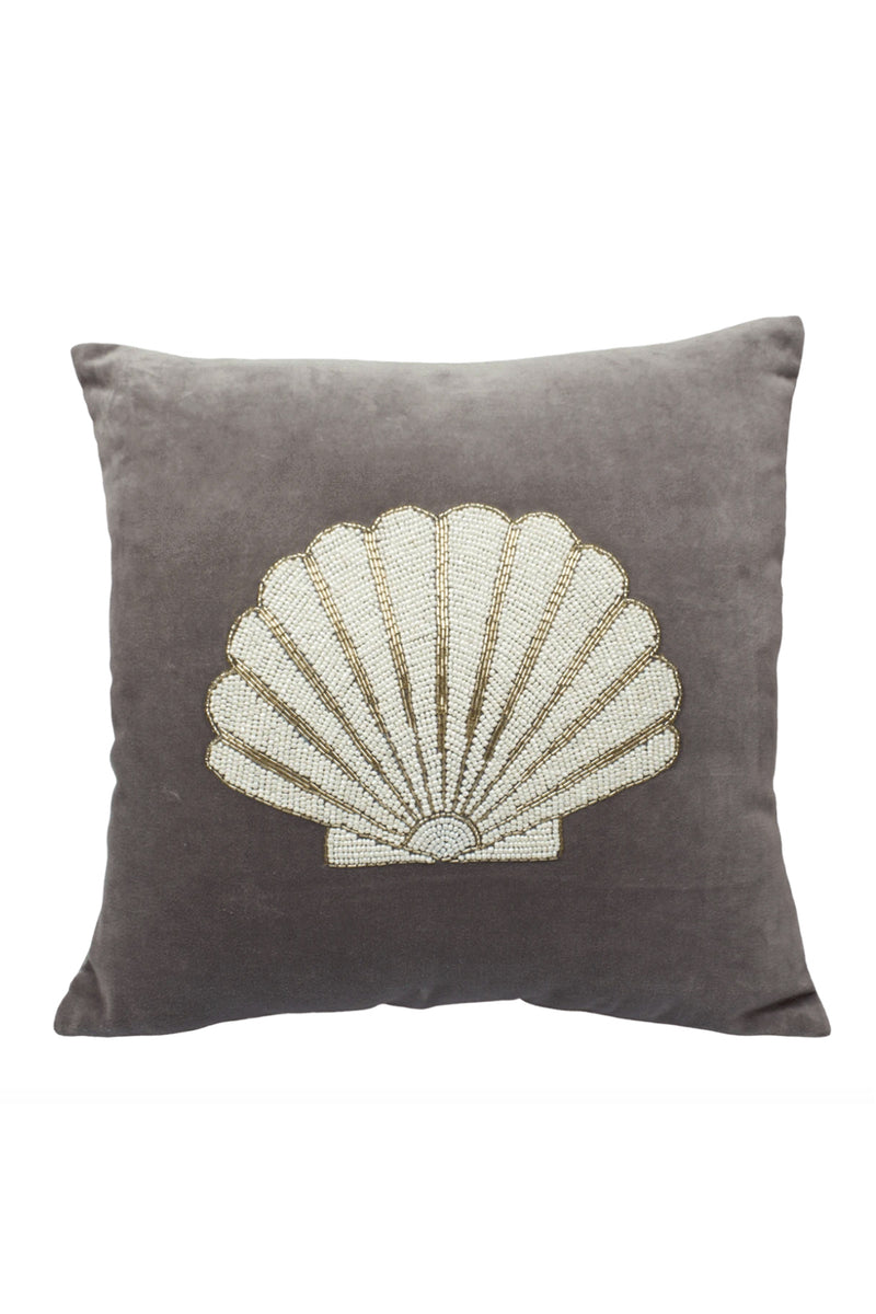 Velvet Cushion Cover - Silver Shell