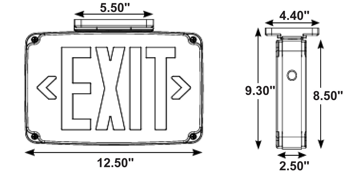 PCEXWLCBB Compact Wet Location LED Exit Sign with Battery