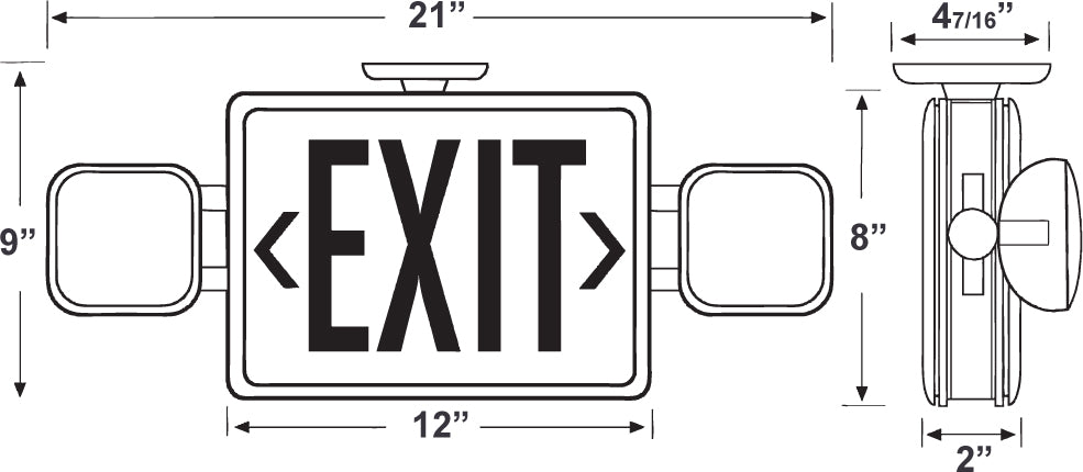 pcexemlrc all led combo exit  emergency lighting unit with