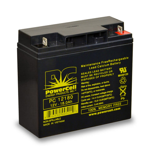 PowerCell PC12180 12V 18.0 Ah Sealed Lead Acid Battery