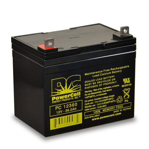 PowerCell PC12360 12V 36.0 Ah Sealed Lead Acid Battery