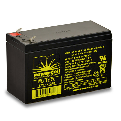 PowerCell PC1270 12V 7.0 Ah Sealed Lead Acid Battery