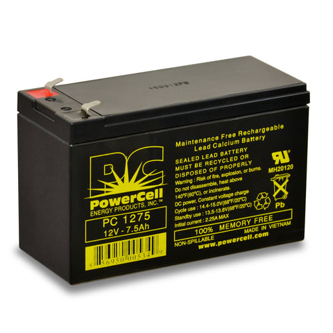 PowerCell PC1275 12V 7.5 Ah Sealed Lead Acid Battery