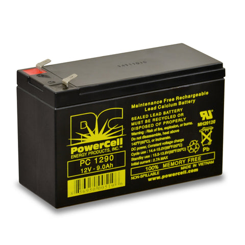 PowerCell PC1290 12V 9.0 Ah Sealed Lead Acid Battery