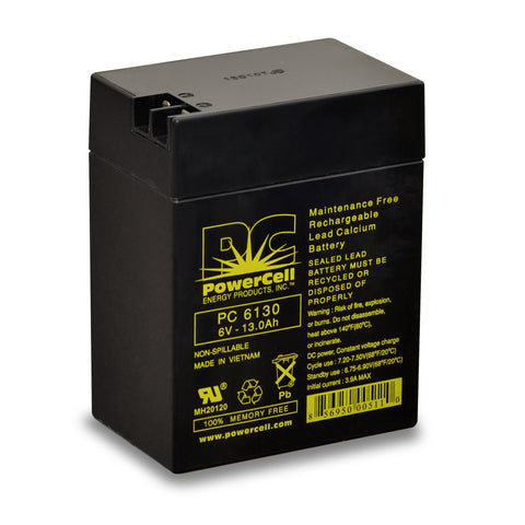 PowerCell PC6130 6V 13.0 Ah Sealed Lead Acid Battery