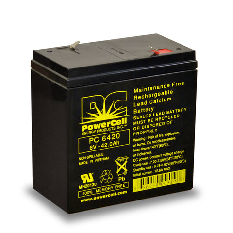 PowerCell PC6420 6V 42.0 Ah Sealed Lead Acid Battery