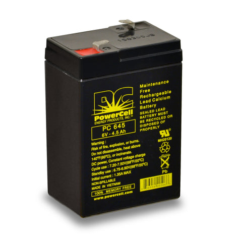 PowerCell PC645 6V 4.5 Ah Sealed Lead Acid Battery