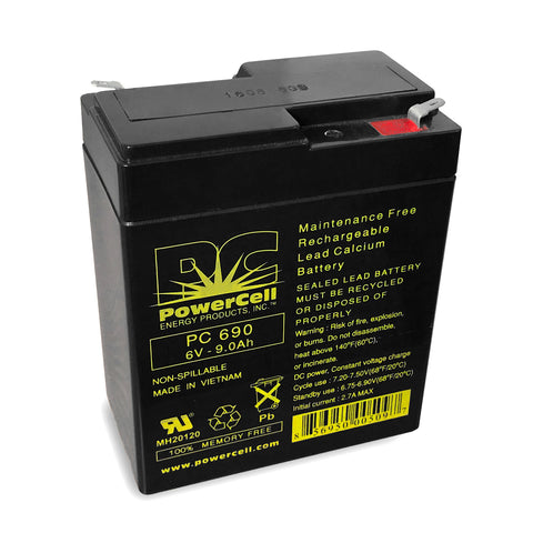 PowerCell PC690 6V 9.0 Ah Sealed Lead Acid Battery