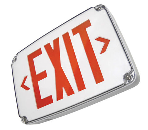 PCEXWLCBB Compact Wet Location LED Exit Sign with Battery Backup