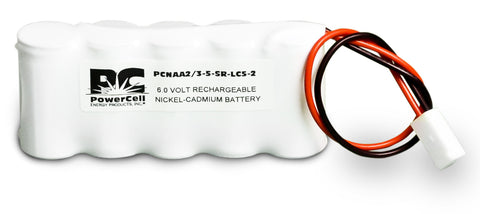 PowerCell PCNAA2/3-5-SR-LC5-2, 6V Nickel Cadmium Battery Assembly