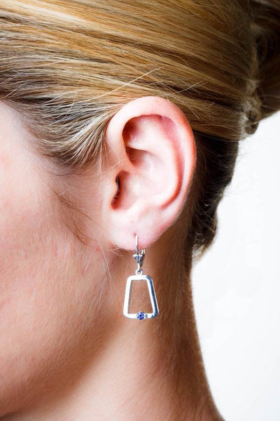 Monique Earrings (Sterling silver with Blue Sapphires) - Dafina Jewelry - 2