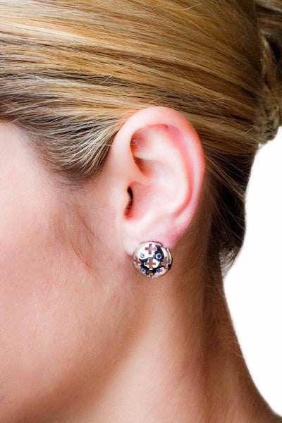Majesty Studs (14K Gold with Pink Sapphires) - Dafina Jewelry - 2