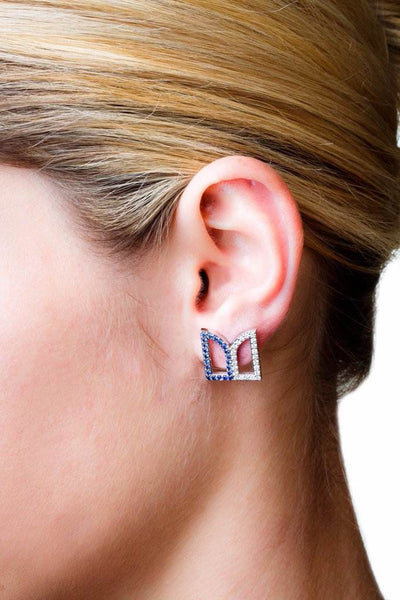 Leaf Studs (14K Gold with Diamonds and Pink Sapphires) - Dafina Jewelry - 2