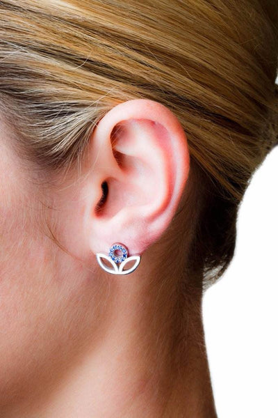 Leaf Studs (Sterling silver with Sapphires) - Dafina Jewelry - 2