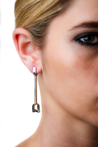 Diamond Bar Earrings (14K Gold with Diamonds and Pink Sapphires) - Dafina Jewelry - 3