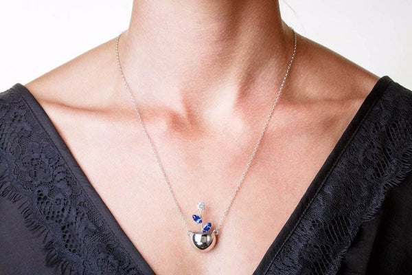 Flowerpot Pendant (14K Gold with Diamond and Sapphires) - Dafina Jewelry - 2