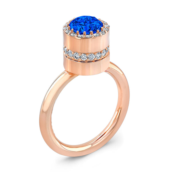 Tall Brilliant (Center Blue Sapphire with top and side Diamonds) - Dafina Jewelry - 3