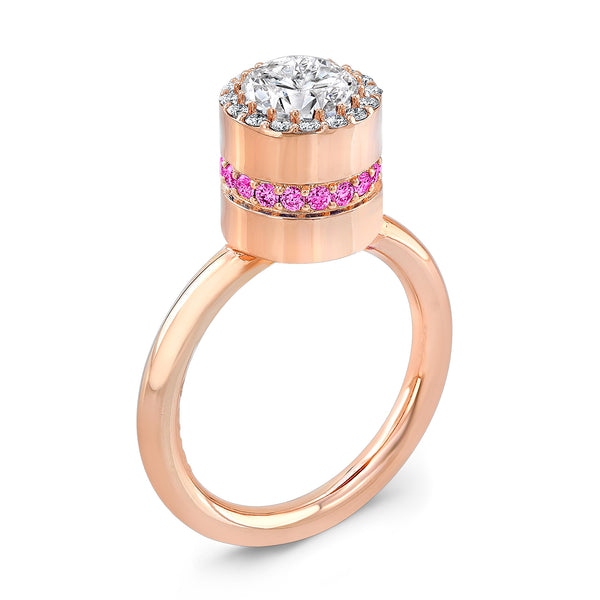 Tall Brilliant (Center Diamond with side Pink Sapphires) - Dafina Jewelry - 3