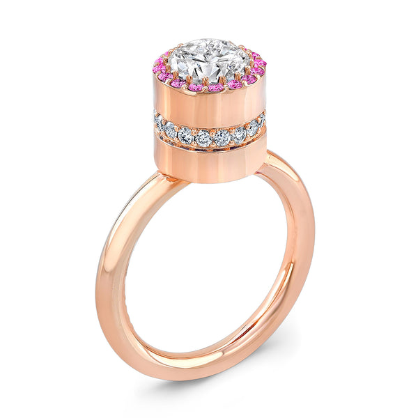 Tall Brilliant (Center Diamond with top Pink Sapphires) - Dafina Jewelry - 3