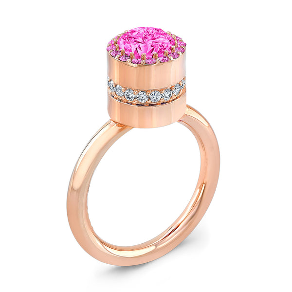 Tall Brilliant (Center and top Pink Sapphires) - Dafina Jewelry - 3