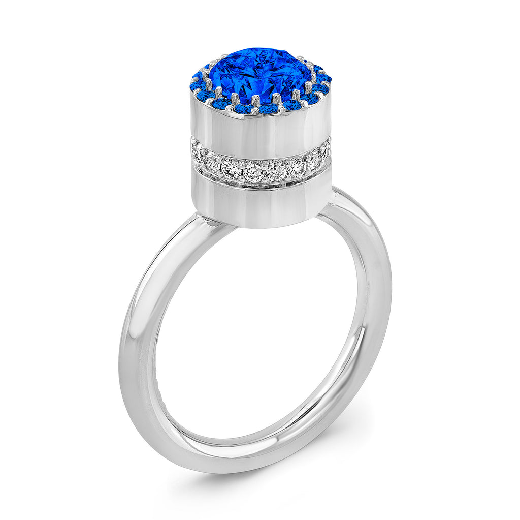 Tall Brilliant (Center and top Blue Sapphires) - Dafina Jewelry - 1