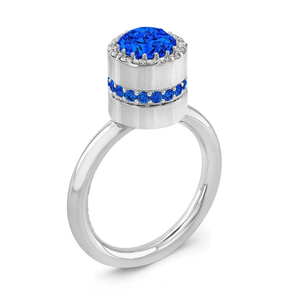 Tall Brilliant (Center and side Blue Sapphires) - Dafina Jewelry - 1