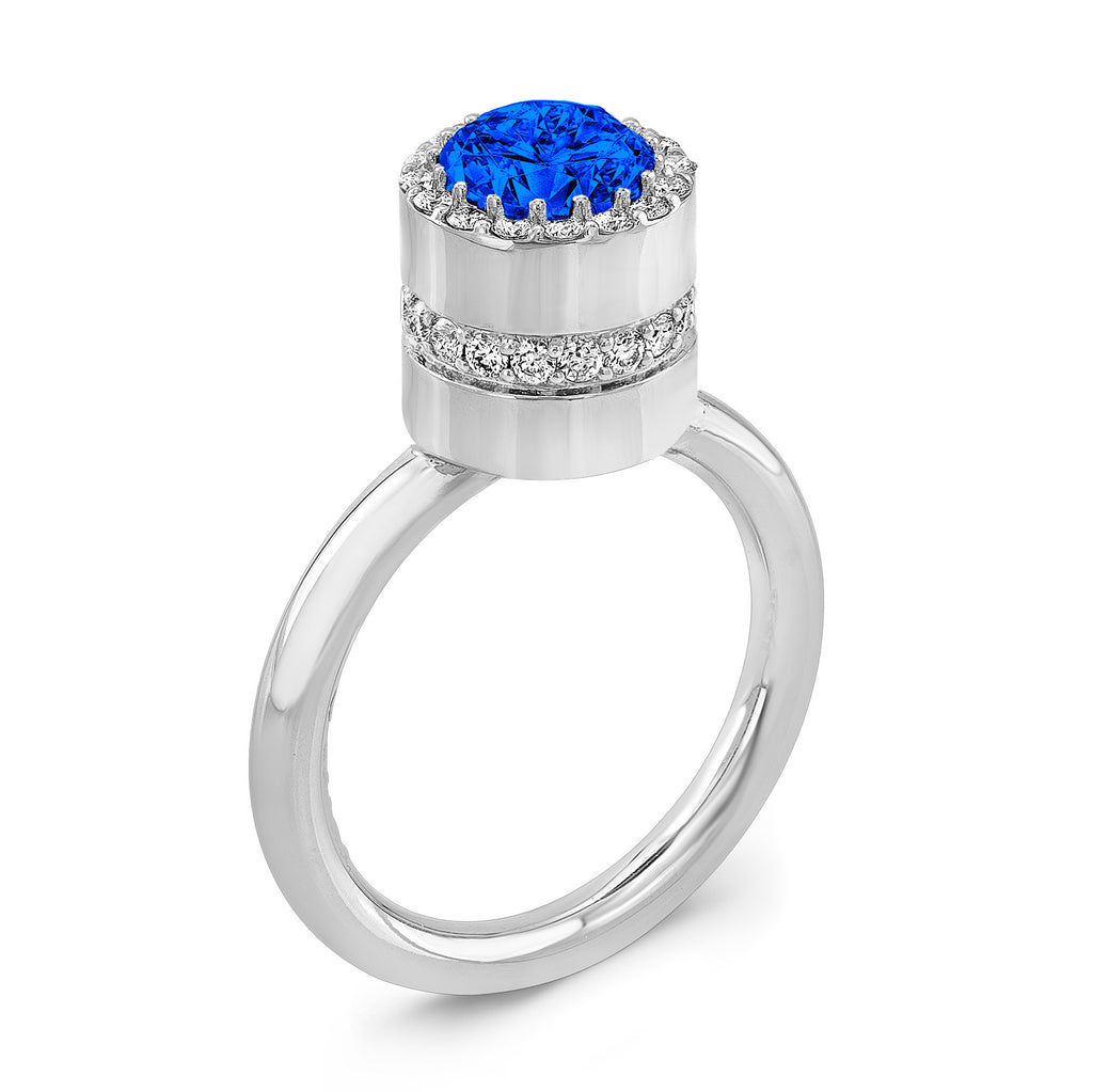 Tall Brilliant (Center Blue Sapphire with top and side Diamonds) - Dafina Jewelry - 1
