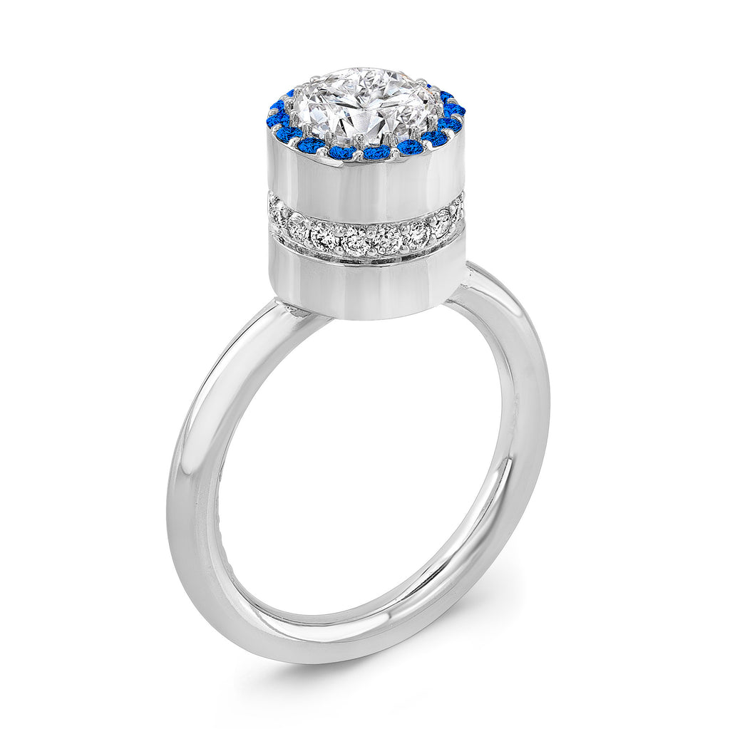 Tall Brilliant (Center Diamond with top Blue Sapphires) - Dafina Jewelry - 1