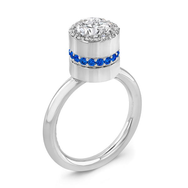 Tall Brilliant (Center Diamond with side Blue Sapphires) - Dafina Jewelry - 1
