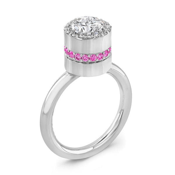 Tall Brilliant (Center Diamond with side Pink Sapphires) - Dafina Jewelry - 1