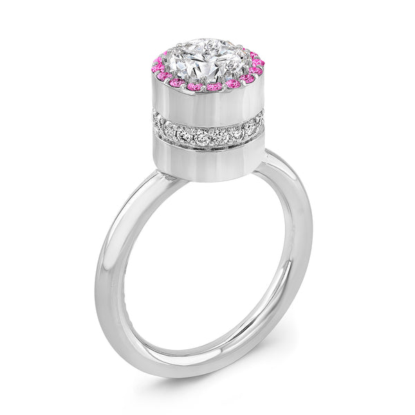 Tall Brilliant (Center Diamond with top Pink Sapphires) - Dafina Jewelry - 1