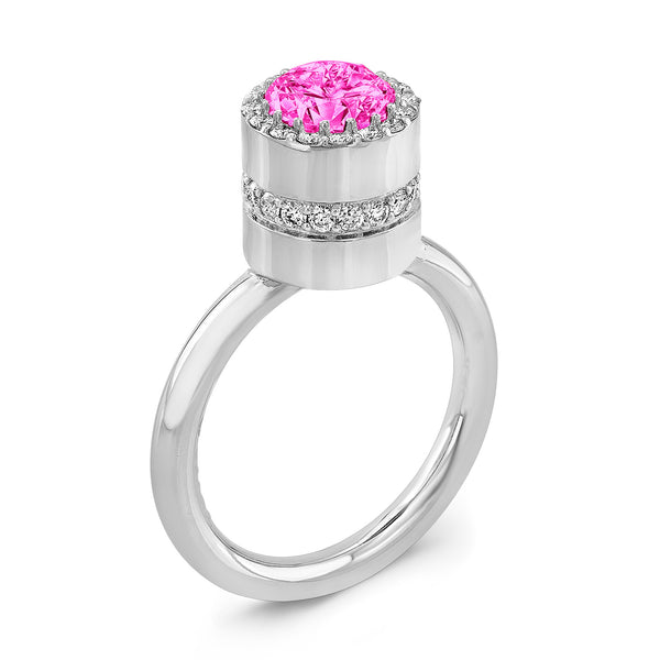 Tall Brilliant (Center Pink Sapphire with top and side Diamonds) - Dafina Jewelry - 1