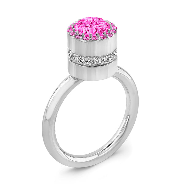 Tall Brilliant (Center and top Pink Sapphires) - Dafina Jewelry - 1
