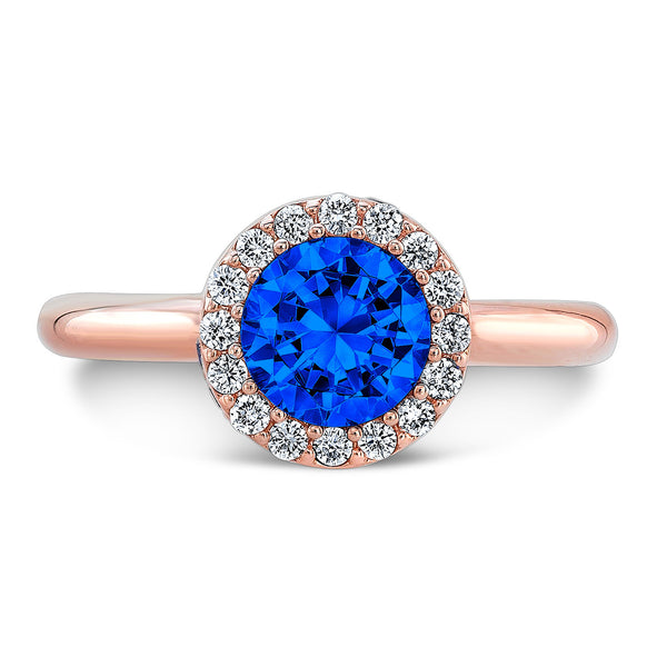 Tall Brilliant (Center Blue Sapphire with top and side Diamonds) - Dafina Jewelry - 4