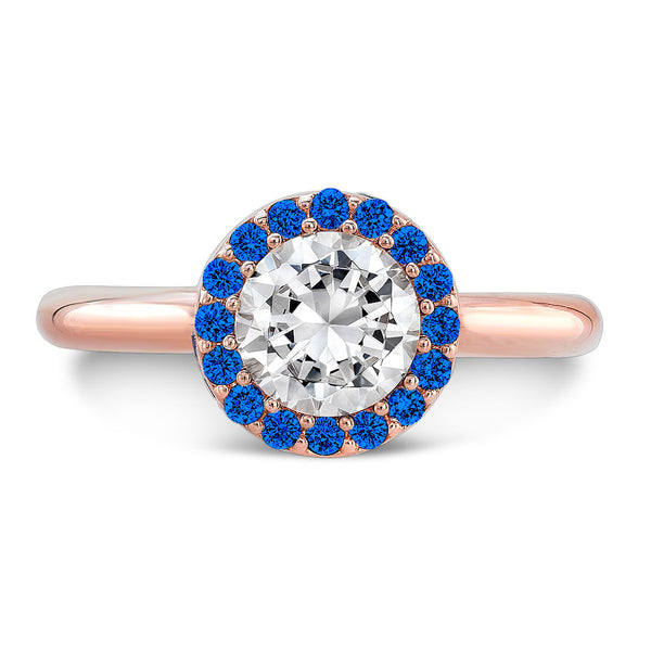 Tall Brilliant (Center Diamond with top Blue Sapphires) - Dafina Jewelry - 4